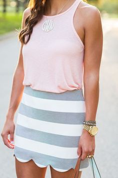 Extra large monogram necklace, blush tank and stripe scallop skirt // a southern drawl. Pastel color outfit for spring.