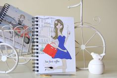 But first Coffee illustrated notebook Polka Dot travel Lined Notebook, Coffee Girl, But First Coffee, Journalling, Trip Planning, Notebooks, My Etsy Shop, About Me Blog, Polka Dots