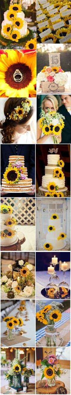 sunflower wedding ideas of cakes bouquets and wedding centerpieces