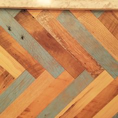 Mixed reclaimed herringbone with a color pop.#nyc restaurant design