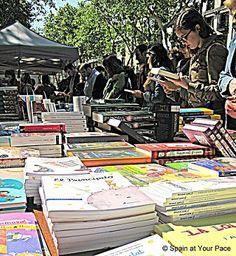 Sant Jordi Barcelona books Las Ramblas