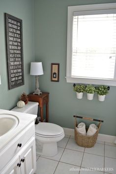 DIY Home Decor Ideas : Illustration Description Holiday Ready Room Refresh / BEHR Marquee Green Trellis / athomewiththebark… -Read More – Best Bathroom Colors, Bathroom Color Schemes, Bathroom Ideas, Bathroom Green, Green Bathroom Interior, Bathroom Paint Colours, Seafoam Bathroom, Light Green Bathrooms, Easy Bathroom Updates
