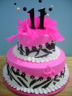 Hot pink and zebra By meeah on CakeCentral.com