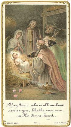 Antique Vintage Holy Prayer Card Manger Nativity Scene with 3 Kings | eBay