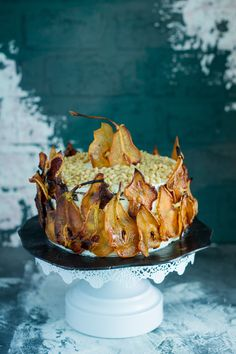 pear cake with blue cheese and pine nuts