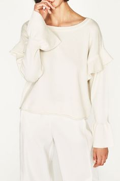 Obsessed with Ruffles + Fluted Sleeves | Cream Jumper | Zara