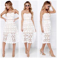 LuLu*s Pinnacle of Prestige Lace Midi Dress in ivory white, $64 (Self-Portrait Azaelea knockoff)