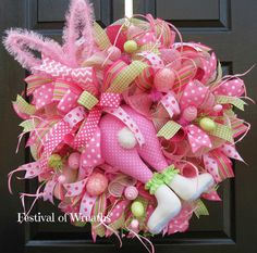 Easter Deco Mesh Wreath  Easter Door Wreath  by FestivalofWreaths