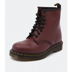 Dr. Martens Women's 1460 Cherry ($170) ❤ liked on Polyvore featuring shoes, boots, ankle booties, shoes boots, shoes/boots, leather booties, leather lined boots, dr martens boots, dr. martens and rubber sole boots