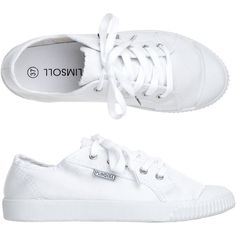 Toast Plimsoll (£35) ❤ liked on Polyvore featuring shoes, sneakers, flats, white, white trainers, white flats, cushioned shoes, cushioned flat shoes and flat heel shoes