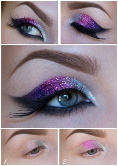Maquillaje de ojos para noche en color rosa, morado y plata