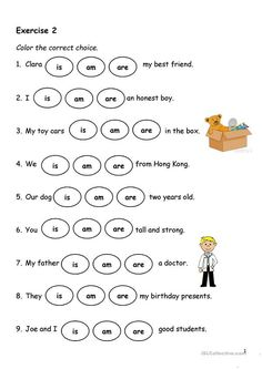 Present Simple - Verb-to-be - English ESL Worksheets for distance learning and physical classrooms English Activities For Kids, English Grammar For Kids, Learning English For Kids, Teaching English Grammar, English Worksheets For Kids, Verb Worksheets, English Lessons For Kids, Grammar Activities, Kids English