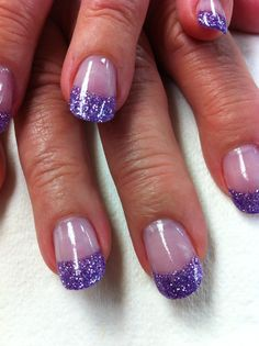 Purple glitter acrylic tips