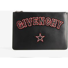 Givenchy Givenchy Iconic Print Large Pouch (26.920 RUB) ❤ liked on Polyvore featuring bags, handbags, clutches, black, pouch purse, leather pouch purse, genuine leather purse, embroidered purse and print handbags