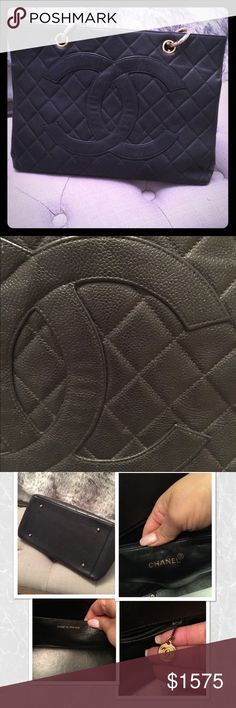 Authentic CHANEL GST Vintage Authentic CHANEL GST aka Grand Shopping Tote in Black durable caviar leather and gold hardware. Condition: it has lost it's shape, look at the photos, all 4 corners has wear, see photos. Inside is pretty clean, has scratches here and there but nothing major. Leather is still looks nice, shows some minor wear throughout -please refer to photos. I tried taking detailed photos. If you want more let me know. 💢 this handle is short not long 💢 Posh will…