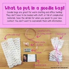 Cute, inexpensive goodie bag. I love doing these!! Marykay.com/annemariemartin                                                                                                                                                     More