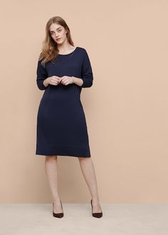 Wool-blend ponte dress - Plus sizes Violeta By Mango, Lana, Wool Blend, High Neck Dress, Dresses For Work, Plus Size, Clothes For Women, Long Sleeve, Winter 2017