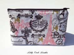Makeup Bag / Cosmetic Case / Travel Zippered Case / Make Up Storage / Cosmetic Pouch / Toiletry Pouch / Vintage Style Design Paris
