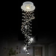 Moderne Clear Waterford Spirale Kugel LED Glanz Kristall Kronleuchter  Deckenleuchte Home Decor Suspension Pendelleuchte Befestigung Licht