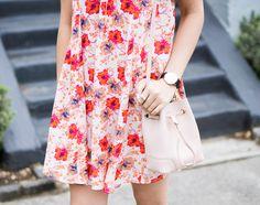 floral dress, astr lace up shift dress, furla bucket bag, spring fashion