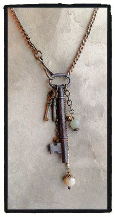 Vintage Skeleton key, two small keys and dangles! - by LjBlock Designs