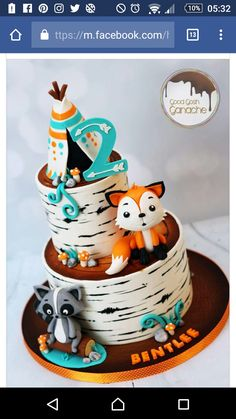 Birthday Party Cake Ideas for Boys – Woodland Cake Tutorial Baby Cakes, Baby Shower Cakes, Baby Boy Shower, 1st Boy Birthday, 1st Birthday Parties, Birthday Ideas, Birthday Cakes, Fox Cake, Fox Party