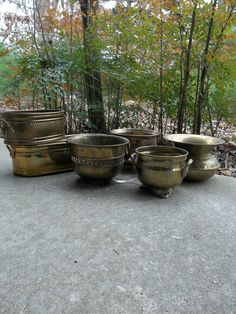 Vintage Brass Planters Rustic Wedding Country Rustic Vases Farmhouse French Country Garden Decor For Succulents Air Plants Set of 5. $42.00, via Etsy.