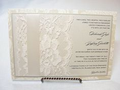 Lace Wedding Invitations   Lavender Paperie