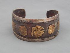 Vintage Peru Peruvian Sterling & 18k Gold Panels Warrior Bird Cuff Bracelet #Cuff