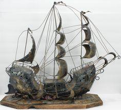 Vintage Pirate Sailing Ship Galleon Boat Art Sculpture Industrial Metal