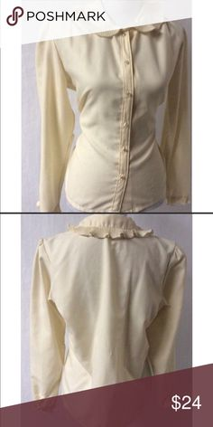 Vintage off white button down blouse. Vintage off white button down blouse.  Used in excellent condition. Beautiful one of a mind blouse. Make an offer. ☺️ Tops Blouses