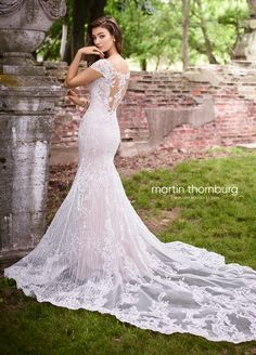 Martin Thornburg Bridal 119259 Danielle - The fabric in this Martin Thornburg for Mon Cheri Bridal style is Beaded Corded Lace Applique & Stretch Crepe Mon Cheri Wedding Dresses, Mon Cheri Bridal, Designer Wedding Dresses, Bridal Dresses, Wedding Gowns, Wedding Parties, Fit And Flare Skirt, Fit And Flare Wedding Dress, Flare Dress