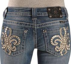 Miss Me Jeans     Miss Me Jeans Miss Me Jeans - Leather Fleur-de-Lis Applique Capri