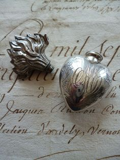 Splendid 19th C. French silver flaming sacred heart flacon : MA :  holy water from French faded-grandeur on Ruby Lane