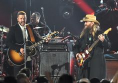 Musician Justin Timberlake performs onstage with Singer-songwriter Chris Stapleton at the 49th annual CMA Awards at the Bridgestone Arena on November 4, 2015 in Nashville, Tennessee.