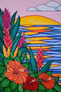 Heather Brown Art, Surfboard Art, Tropical Art, Surf Art, Moon Art, Abstract Oil, Whimsical Art, Art Sketchbook, Acrylic Painting Canvas
