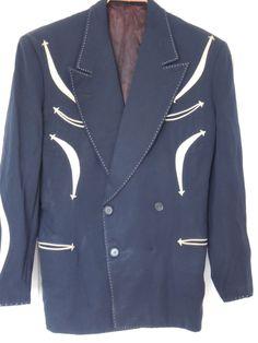 RARE Vintage 1950s Nudie Cohn Gabardine Western Suit Jacket and Pants