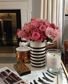 black & white vase and pink roses // elements of style