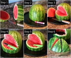This Watermelon Shark will be the talk at your next party! Sweet and delicious, … This Watermelon Shark will be the talk at your next party! Sweet and delicious, it is the perfect summertime snack and so easy to create! Birthday Party Snacks, Snacks Für Party, 2nd Birthday, Birthday Ideas, Pirate Birthday, Snacks Kids, Party Party, Party Recipes, Food For Luau Party