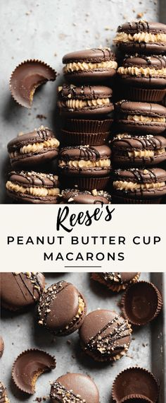 Take your favorite flavors of a Reese's peanut butter cup and transform them into a grown up dessert! Introducing Reese's Macarons AKA chocolate peanut butter macarons with a decadent, salty sweet pea Peanut Recipes, Sweet Recipes, Baking Recipes, Cookie Recipes, French Macaroon Recipes, French Macaroons, French Macarons Recipe Flavors, Easy Macaron Recipe, Gastronomia