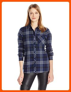 BCBGeneration Women's One Pocket Flannel Shirt, Dark Navy Combo, Small - All about women (*Amazon Partner-Link)