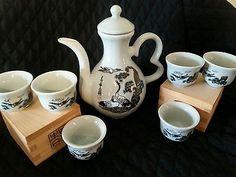 Vintage Japanese Tea Set Signed Tea Pot 6 Sake Cups Insignia on the Handle