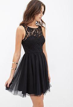 Crochet & Tulle Dress | FOREVER21 - 2000138426