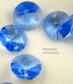 Vintage Swarovski Sapphire Blue Rivoli 8mm Pendant by BeadBunker