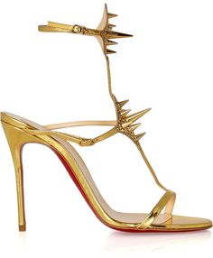 Christian Louboutin Lady Max 100 SpikeEmbellished Metallic Leather Sandals in Gold
