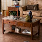 Found it at Wayfair -  Amberly Coffee Table with display storage in top