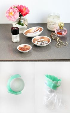 Spray paint copper bowls
