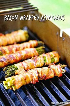 Asparagus Wrapped in Bacon - Made on the grill the bacon is crispy and flavorful wrapped around tender asparagus and sprinkled with salty Parmesan cheese! via Bowl Me Over / Influencer / Entrepreneur Grilled Bacon Wrapped Asparagus, Grilled Asparagus Recipes, Grilled Vegetables, Vegetables On The Grill, Asparagus On The Grill, Grilled Food, Cooked Asparagus, Grilling Asparagus, Bacon On The Grill