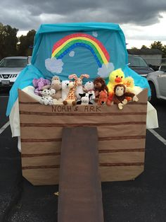 Noah's Ark - Animals Two by Two and a Rainbow. The Best Halloween Trunk or Treat Ideas Theme trucks cars suvs and vans. Easy church Halloween ideas including games and popular Halloween themes Halloween Car Decorations, Baby Halloween Costumes, Halloween Themes, Halloween Crafts, Trunk Or Treat, Trunk Of Treat Ideas, Holidays Halloween, Fall Halloween, Fall Festival Games