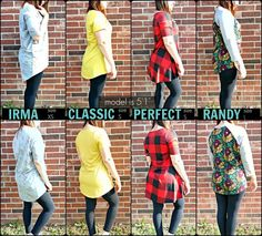 Great visual for each tee style!  Shop styles at LuLaRoe Kyra and Jaida today!!